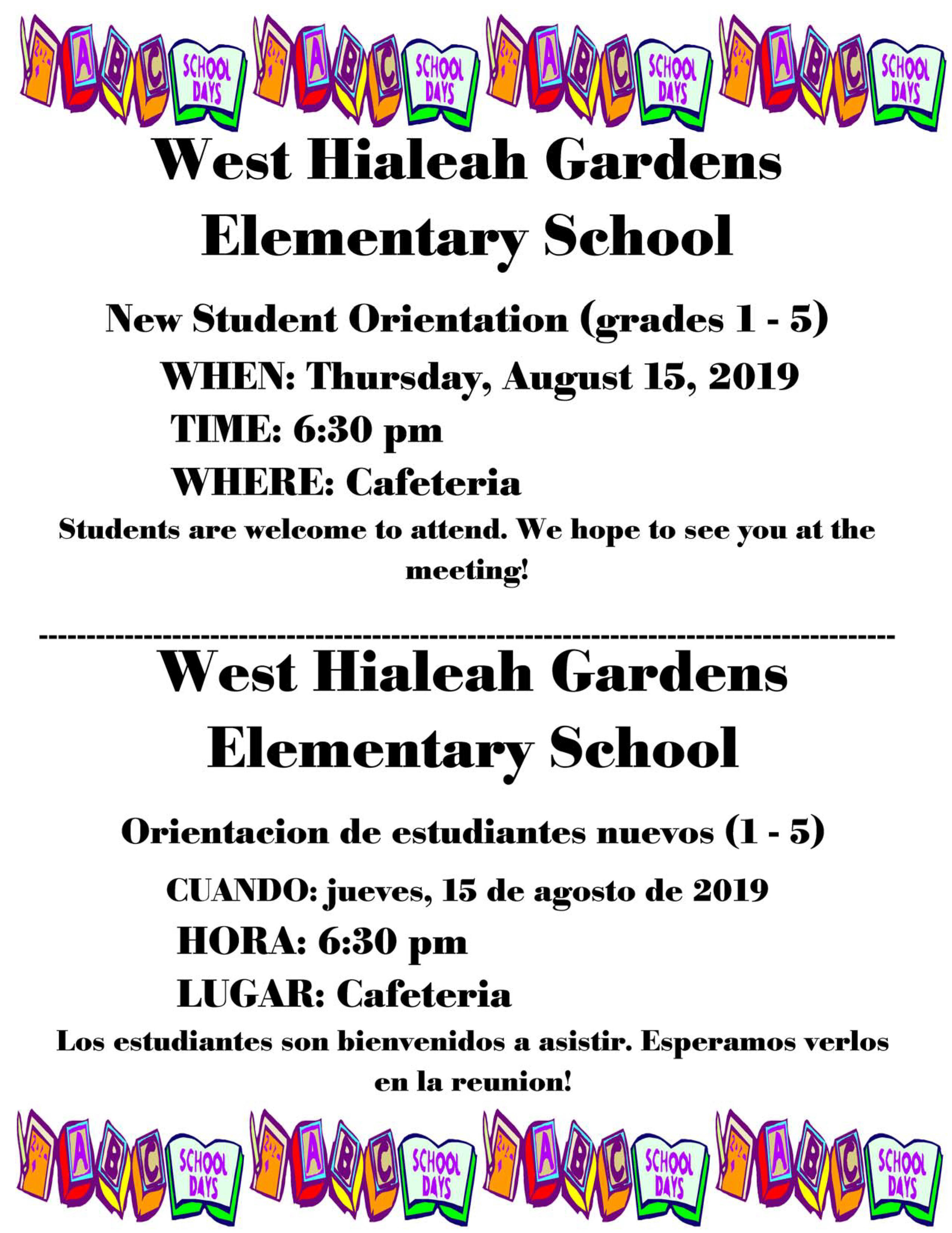 New Student Orientation (Grade 1-5) @ Cafeteria